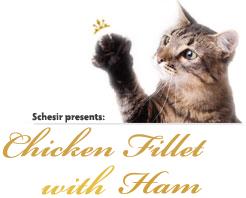 Schesir Cat Chicken Fillet with Ham парченца в желе 85гр с Пилешки филенца и шунка за котки