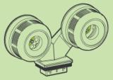 AAG Stucchi влагозащитена двойна фасунга за TL-5 луминисцентни лампи за монтаж 1883-G5 / 16-TR